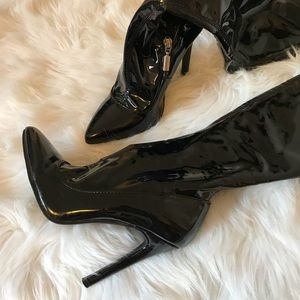 Black Faux Leather Forever 21 Pointed Toe Heels